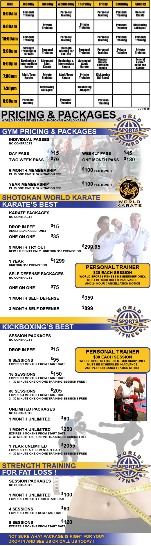 World Sports Fitness and Shotokan World Karate Pricing and Gym Memberships